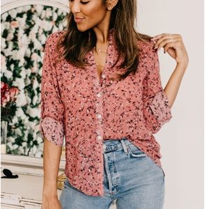 Beach Lunch Lounge Floral Button Down